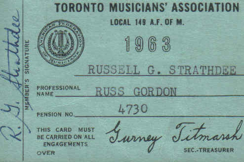 Toronto Musicians Association Union Card
